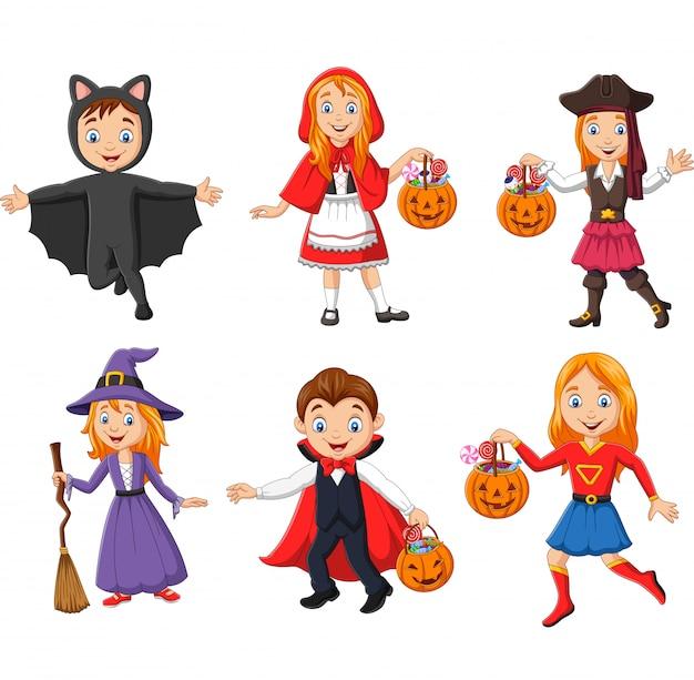 Groep cartoon kinderen dragen verschillende kostuums