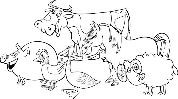 Groep cartoon landbouwhuisdieren om in te kleuren