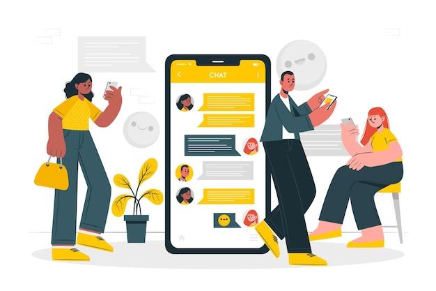 Groep chat concept illustratie