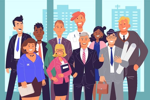Groep collega's, teamwerkconcept