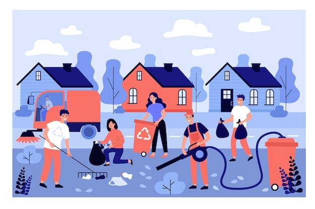Groep conciërges die stadsstraat van huisvuil schoonmaken.