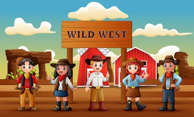 Groep cowboys en veedrijfsters op de achtergrond van het wilde westenlandbouwbedrijf