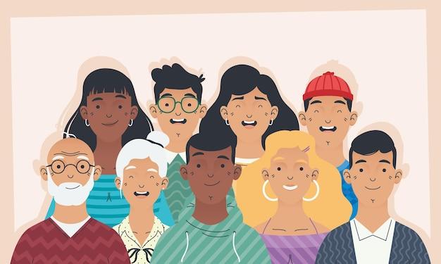 Groep de karakters van diversiteitsmensen