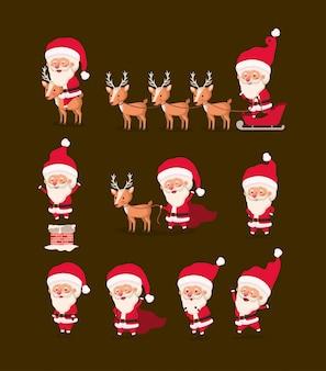 Groep de kerstman en rendier
