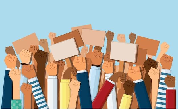 Groep demonstranten vuisten in de lucht Premium Vector