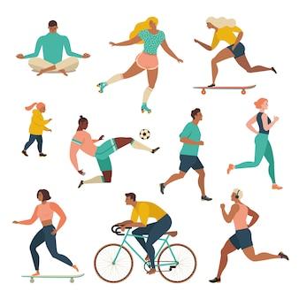 Groep die mensen sportieve activiteiten uitvoeren bij park.