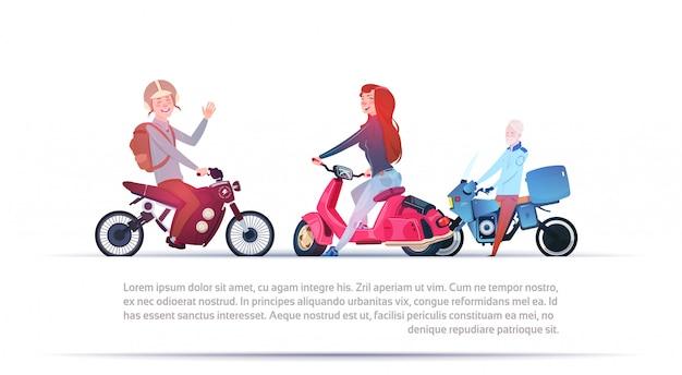 Groep die mensen verschillende motorfietsen elektrische autoped berijden en motor die op witte backgr wordt geïsoleerd