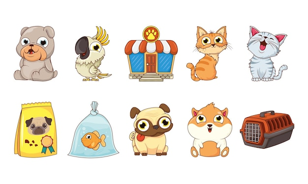 Groep dieren huisdieren karakters en voedselzak met winkelgevel