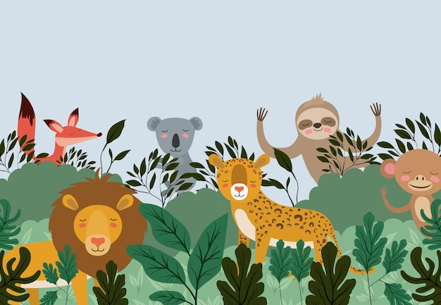 Groep dieren in de bosscène