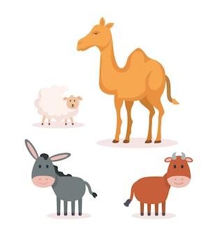Groep dieren kribbe karakters