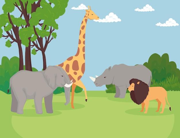 Groep dieren wild in de savannescène