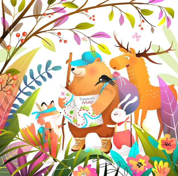 Groep dierenvrienden in bos die met kaart wandelen, op zoek naar schatten. draag voskonijn en elandavonturen, tekenfilm voor kinderen en kinderboek