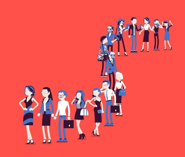 Groep diverse mensen die in een lange rij in de rij staan