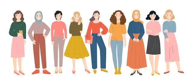 Groep diverse mensen staan samen platte vectorillustratie. gelukkige mensen karakters.