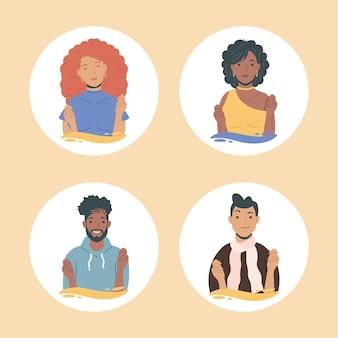 Groep diversiteit jongeren karakters
