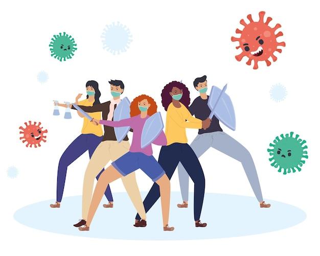 Groep diversiteitspersonen die vechten versus de illustratie van deeltjeskarakters