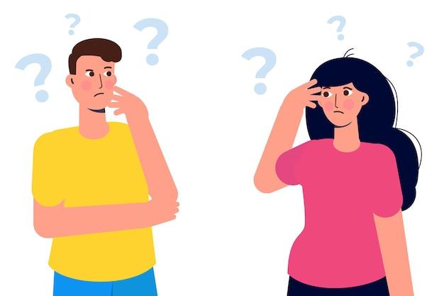 Groep doordachte mensen. mannen en vrouwen die problemen oplossen. vector illustratie.