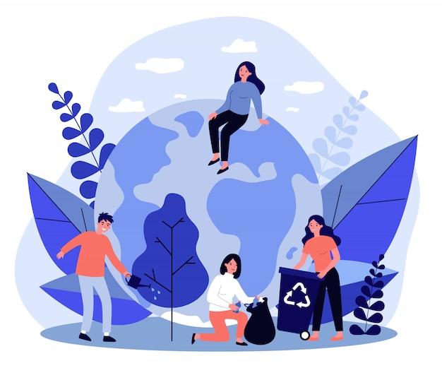 Groep eco-vrijwilligers buiten werken