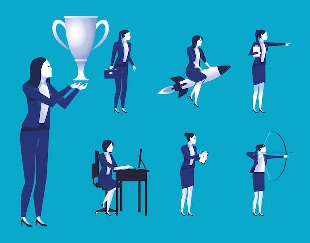 Groep elegante zakenvrouwen werknemers avatars tekens illustratie