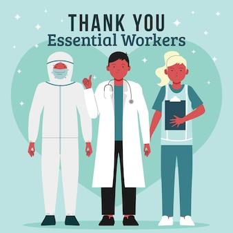 Groep essentiële arbeiders geïllustreerd met bedankbericht