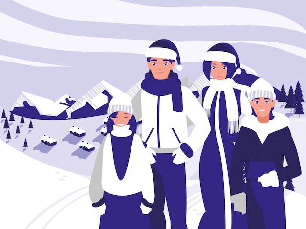 Groep familie met klerenkerstmis in de winterlandschap