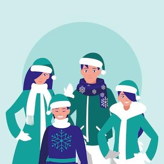 Groep familie met klerenkerstmis