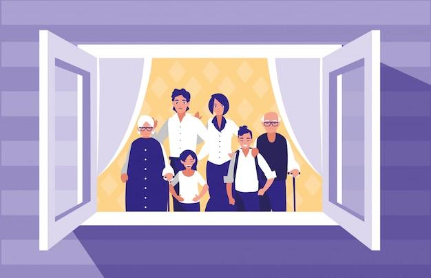 Groep familieleden in het venster