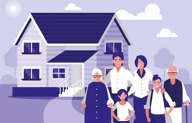 Groep familieleden met huis