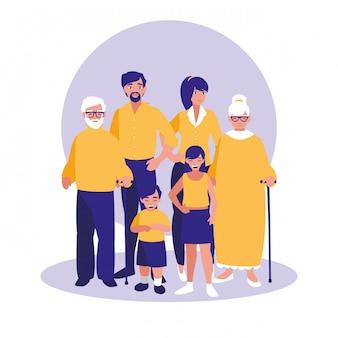 Groep familieleden tekens