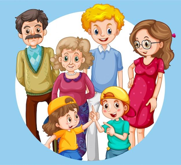 Groep familielid karakters