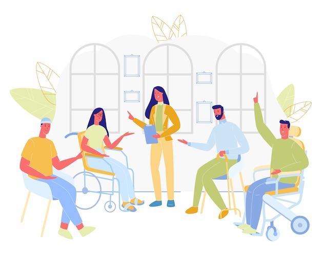 Groep gehandicapte mensen zitten met vrouwelijke arts.