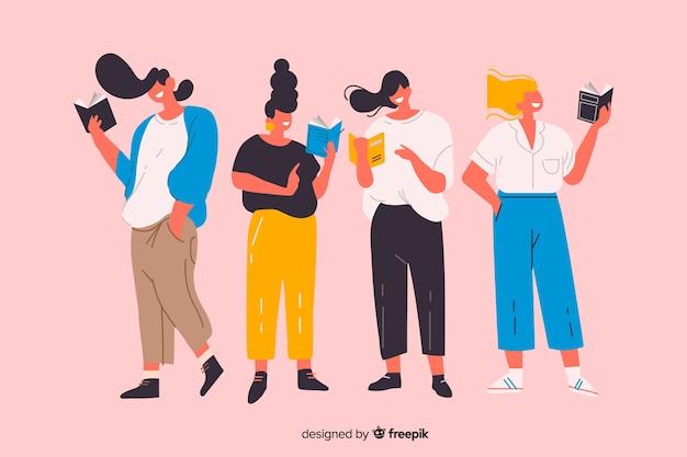 Groep geïllustreerde de tijd van de jongerenlezing