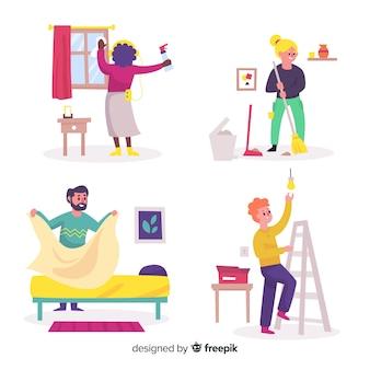 Groep geïllustreerde mensen die huishoudelijk werk doen