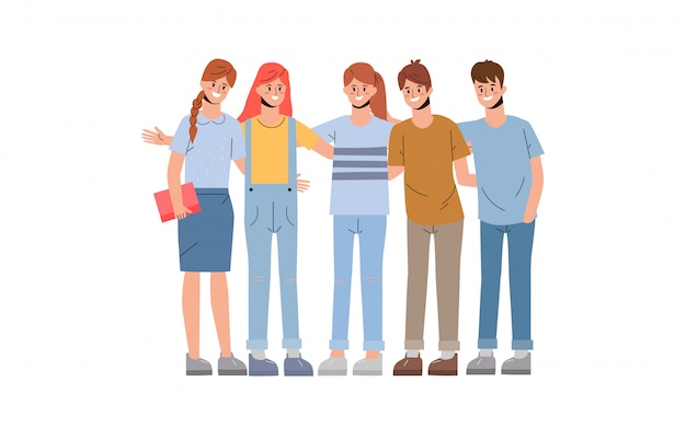 Groep geleerde en collegiaan in vriendschapskarakter.