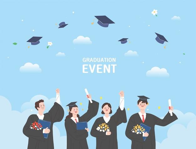 Groep gelukkige afgestudeerde studenten dragen academische jurk, jurk of gewaad en afstuderen cap en met diploma. jongens en meisjes vieren universitair afstuderen. flat cartoon illustratie.