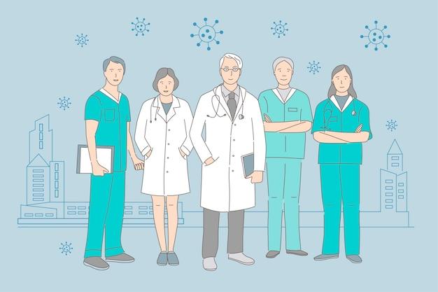 Groep gelukkige glimlachende artsen en verpleegsters die zich op de achtergrond van de illustratie van het het beeldverhaaloverzicht van de pandemische stad verenigen. medische hulpverleners tijdens het uitbreken van coronavirus covid-19.