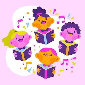 Groep gelukkige jonge geitjes die in een geïllustreerd koor zingen