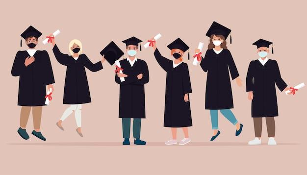 Groep gelukkige jonge mensen, afgestudeerden in gewaden en beschermende maskers in verband met de covid-19 pandemie. sociale afstand nemen tijdens het coronavirus. illustratie in vlakke stijl