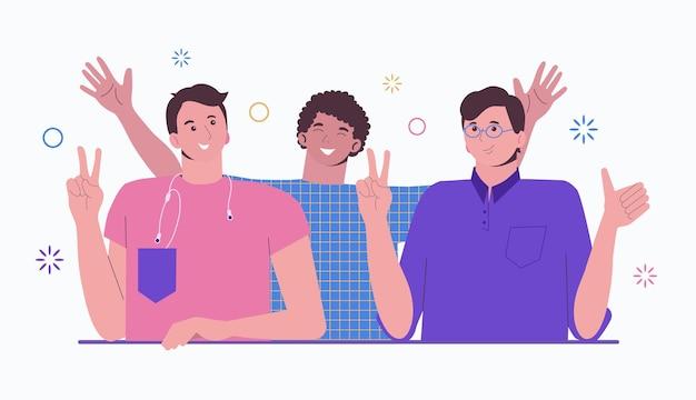 Groep gelukkige jonge mensen knuffelen. vriendschap samenwerking en teamgeest. vrienden eenheid.