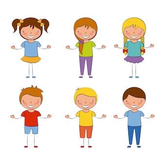Groep gelukkige kinderen, terug naar school, bewerkbare illustratie