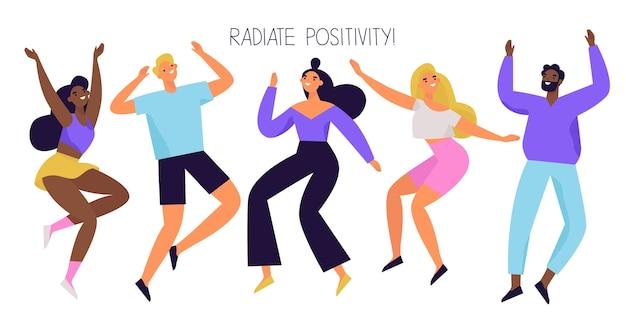 Groep gelukkige mensen springen en dansen. vrolijke en positieve diverse karakters. kleurrijke illustratie.