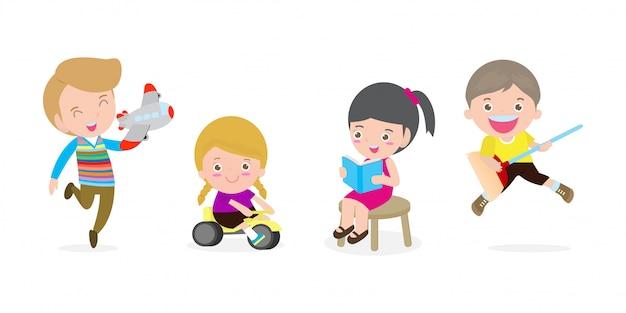 Groep gelukkige schoolkinderen met speelgoed in de klas, de activiteit van kinderen in de kleuterschool, het lezen van boeken, spelen, onderwijs geïsoleerde illustratie