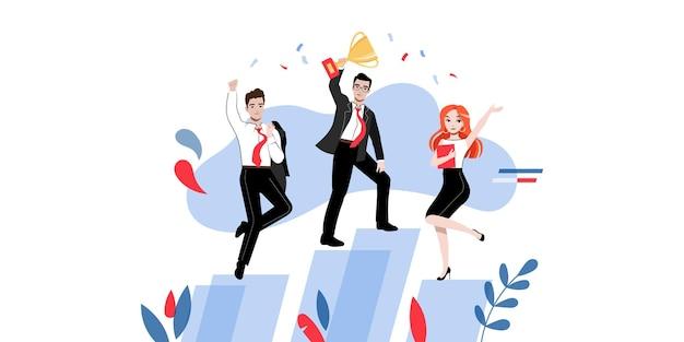 Groep gelukkige succesvolle zakenmensen of studenten in verschillende poses met winnaar s cup op platforms