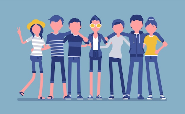 Groep gelukkige tienervrienden