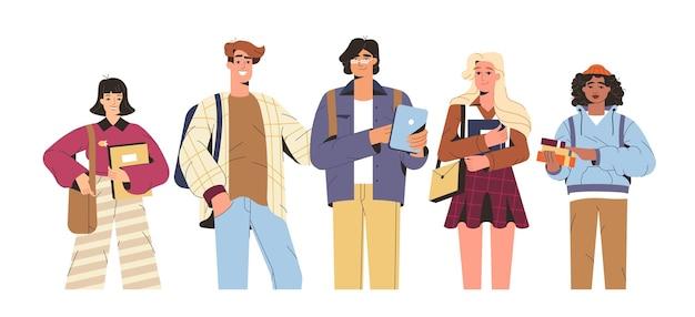 Groep gelukkige universiteitsstudenten met studieboeken en gadgets