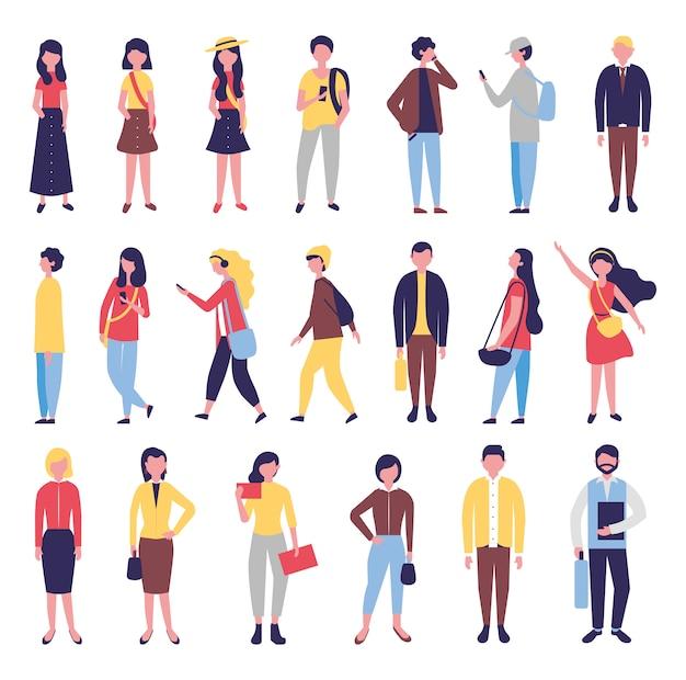 Groep gemeenschapsmensen bundelen karakters