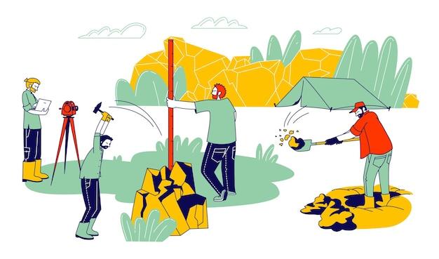 Groep geologen werken en bodem graven tijdens onderzoek, cartoon vlakke afbeelding
