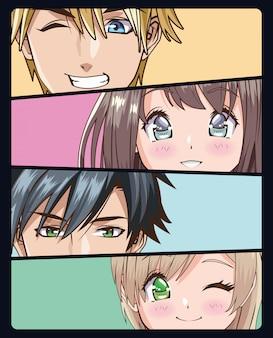 Groep gezichten jongeren anime stijl tekens vector illustratie ontwerp