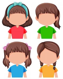 Groep gezichtsloze meisjes