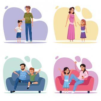 Groep gezinsleden stay at home-campagne